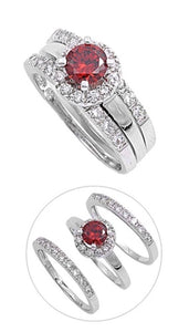 Sterling Silver CZ Halo 1 carat Garnet Three Piece Wedding Ring Set 5-10 by  Blades and Bling Sterling Silver Jewelry