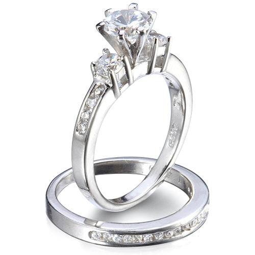Sterling Silver 0.80 carat Round cut CZ Three Stone Wedding Ring Set size 4-9