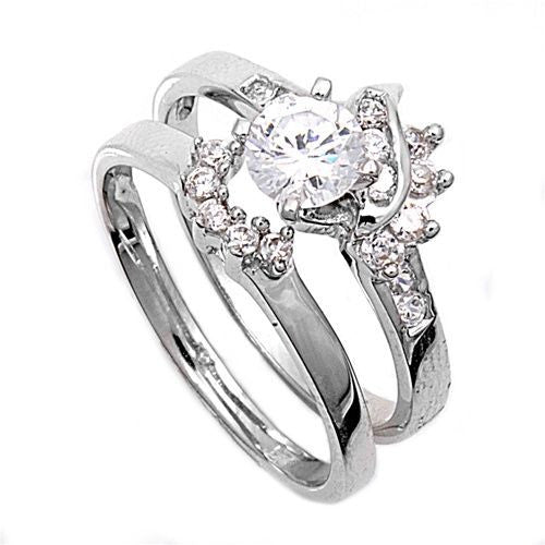 Sterling Silver CZ 1 carat Brilliant Round Cut Solitaire Wedding Ring Set with Sidestones 5-10
