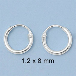 .925 Sterling Silver Hoop Earrings Kids Baby Childs Ladies Mens Continuous 8mm-80mm
