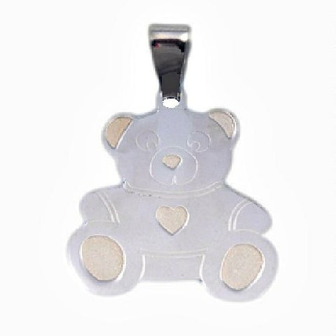 Sterling Silver Cute Teddy Bear pendant with Gold tone accents - Blades and Bling Sterling Silver Jewelry