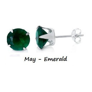 .925 Sterling Silver Brilliant Round Cut Green Emerald CZ Stud Earrings in 2mm-10mm by  Blades and Bling Sterling Silver Jewelry