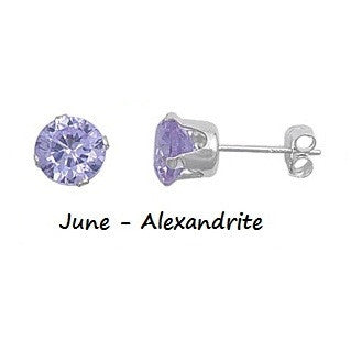 .925 Sterling Silver Brilliant Round Cut Lavender Alexandrite CZ Stud Earrings in 2mm-10mm by  Blades and Bling Sterling Silver Jewelry