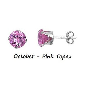 3a31d6427 .925 Sterling Silver Brilliant Round Cut Pink Topaz CZ Stud Earrings in  2mm-10mm .