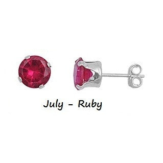 .925 Sterling Silver Brilliant Round Cut Red Ruby CZ Stud Earrings in 2mm-10mm by  Blades and Bling Sterling Silver Jewelry