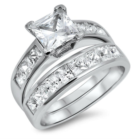 Sterling Silver CZ 1 carat Princess Cut Wedding Ring Set Size 4-10 - Blades and Bling Sterling Silver Jewelry