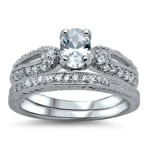 Sterling Silver Oval Cut Wedding Ring Set CZ Engagement Ring And Band Size  5  9