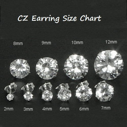 .925 Sterling Silver Brilliant round Cut Clear CZ Stud Earrings in 2mm 3mm 4mm 5mm 6mm 7mm 8mm 9mm 10mm 11mm 12mm - Blades and Bling Sterling Silver Jewelry.925 Sterling Silver Brilliant round Cut Clear CZ Stud Earrings in 2mm-12mm by  Blades and Bling Sterling Silver Jewelry