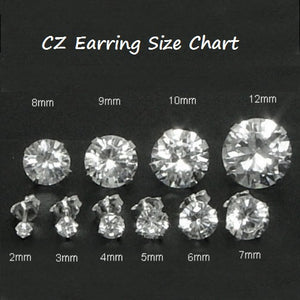 e0eef9095 .925 Sterling Silver Brilliant Round Cut Blue Sapphire CZ Stud Earrings in  2mm-10mm .