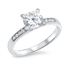 Sterling Silver Ladies Brilliant Round cut Channel set Solitaire Engagement Ring size 4-10
