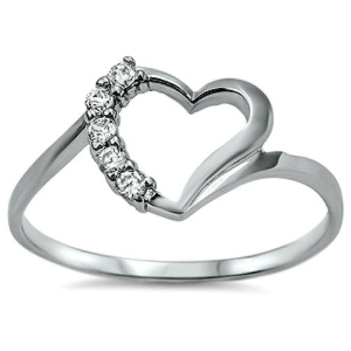 Sterling Silver Open Heart ring with CZ ladies size 4-9 by Blades and Bling