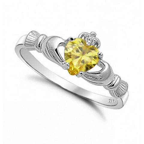 Sterling Silver Yellow Topaz CZ Claddagh Ring Size 5-10 by Blades and Bling