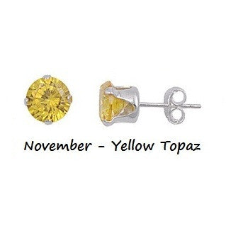 .925 Sterling Silver Brilliant Round Cut Yellow Topaz CZ Stud Earrings in 2mm-10mm by  Blades and Bling Sterling Silver Jewelry