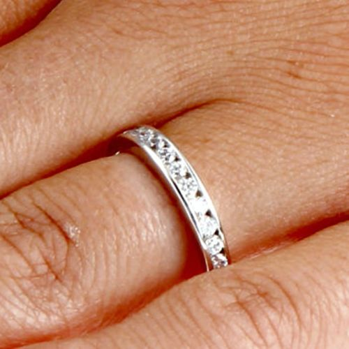 .925 Sterling Silver Round Cut Channel Set Ladies Ring Size 3-12