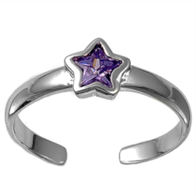 February birthstone purple star ring in adjustable sizes for ladies and children