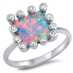 Pink fire rainbow opal cocktail princess cut halo womans ring