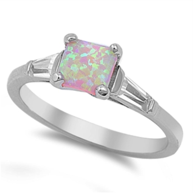Pink fire rainbow opal engagement three stone ring