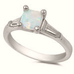 White fire rainbow opal engagement three stone ring