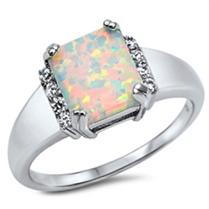 White fire rainbow opal engagement princess cut halo womans ring