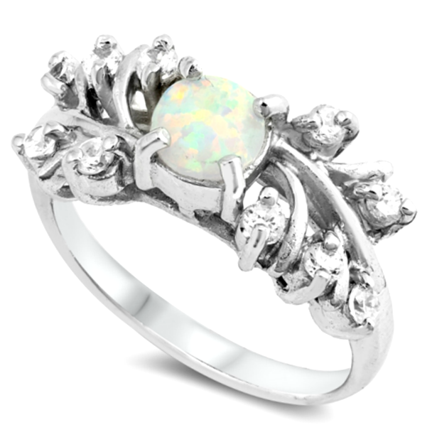 White fire rainbow opal engagement constellation ring