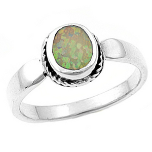 Pink fire rainbow opal engagement or promise ring