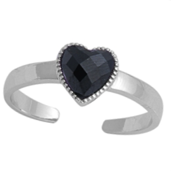 Birthstone black onyx heart ring in adjustable sizes for ladies and children