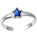 September birthstone blue sapphire star ring in adjustable sizes for ladies and children