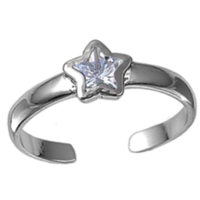 April birthstone clear star ring in adjustable sizes for ladies and children