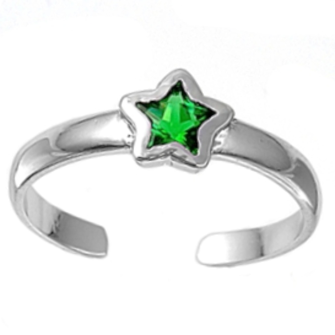 May birthstone Green emerald star ring in adjustable sizes for ladies and children