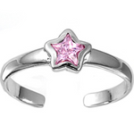 October birthstone Pink star ring in adjustable sizes for ladies and children