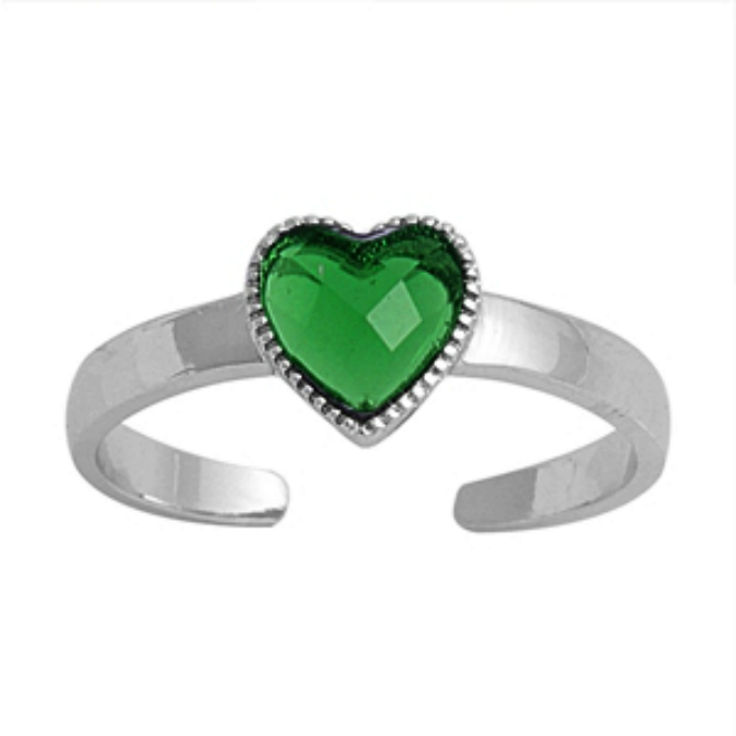 May birthstone Green emerald heart ring in adjustable sizes for ladies and children