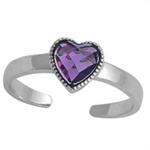 February birthstone purple heart ring in adjustable sizes for ladies and children