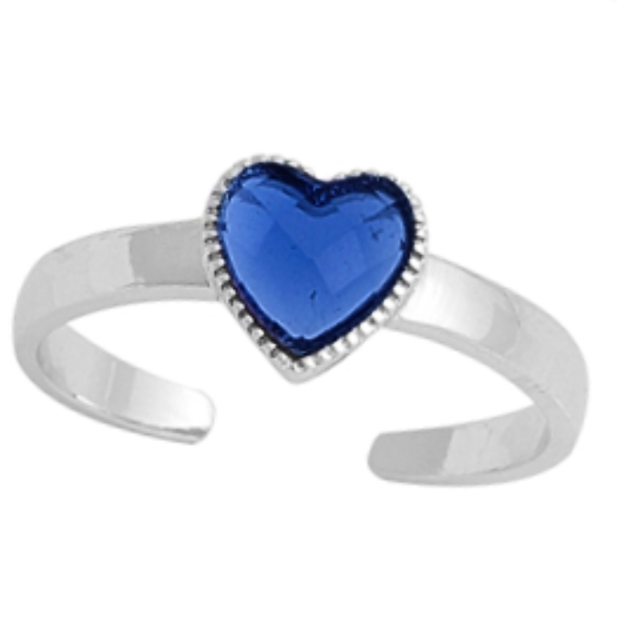 September birthstone blue sapphire heart ring in adjustable sizes for ladies and children