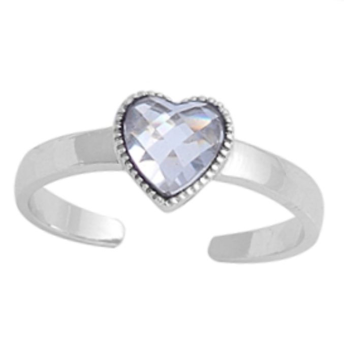 April birthstone clear heart ring in adjustable sizes for ladies and children