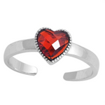 January birthstone red garnet heart ring in adjustable sizes for ladies and children