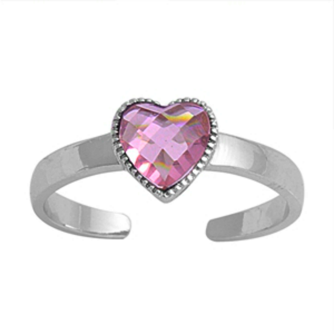 October birthstone Pink heart ring in adjustable sizes for ladies and children