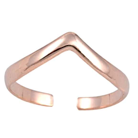 Shimmering womens rose gold arrow V size adjusting toe ring
