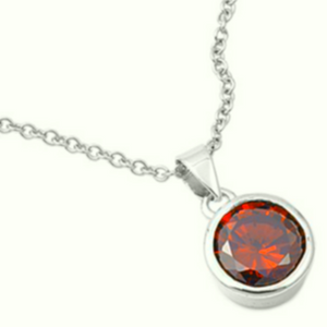 Symmetrical link rollo chain necklace for women and girls with red birthstone charm