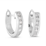 Womens huggie hugger CZ hoop earrings