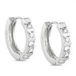 Womens CZ huggie hoop earrings