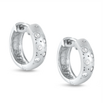 Womens and girls cubic zirconia huggie hoop earrings