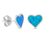 Womens and kids opal hearts earring studs