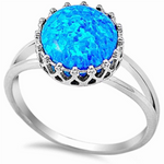 Sterling silver large dark and light blue opal round cut ring in detailed basket setting