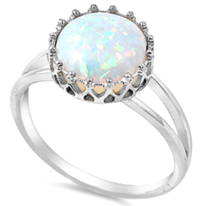 Sterling silver large white opal round cut ring in fancy basket setting