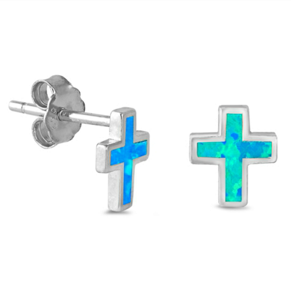 Womens and kids vertical cross earrings in blue and silver