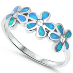 Cute blue opal daises floral ring in sterling silver