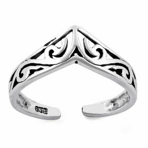 .925 Sterling Silver Chevron V Ladies Ring Midi Adjustable Size Toe and Knuckle with Celtic Filigree Swirls
