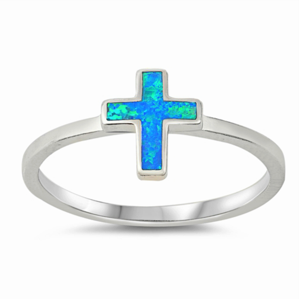 Women's and girl blue fire opal cross ring