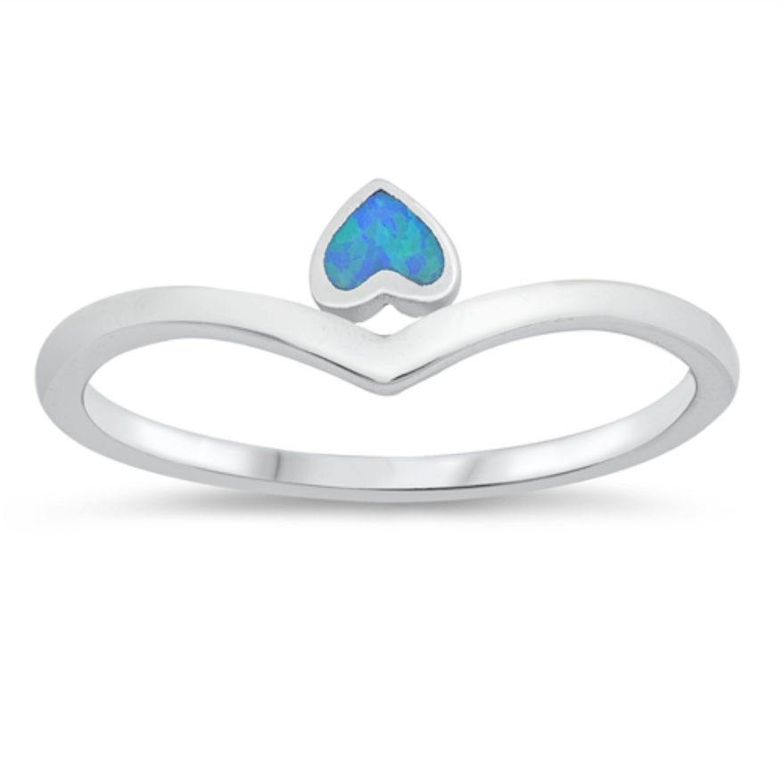 Womens and girls blue opal heart chevron ring