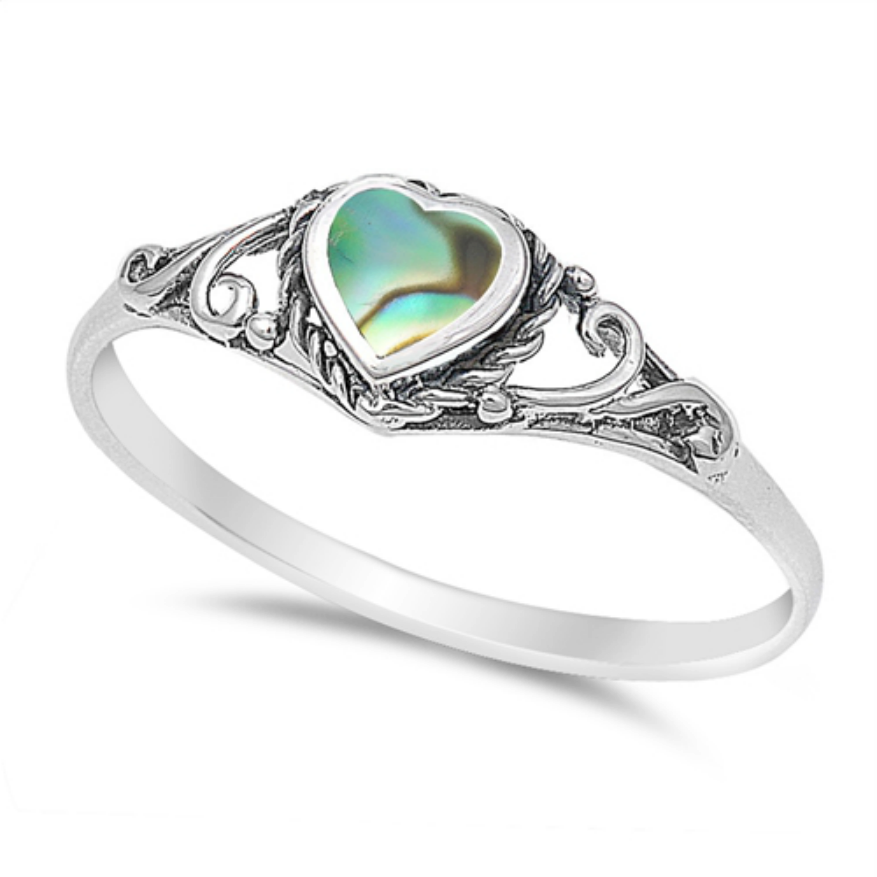 Womens and girls abalone shell heart ring
